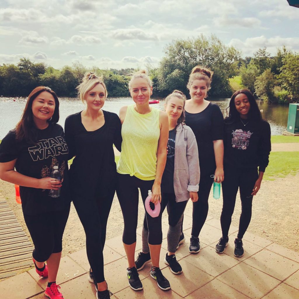Jennie Holland PR team after their warrior assault course at Holme Pierrepont Country Park Nottingham